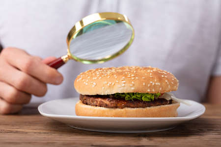 Mans Hand Holding Magnifying Glass Showing Fresh Burger Фото со стока