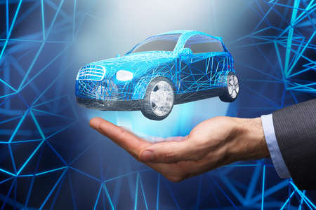 Close-up Of Abstract Blue Car With Diagonal Pattern Over Businessmans Hand Фото со стока