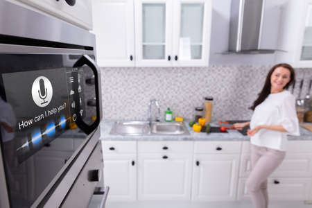 Close-up Of An Oven With Voice Recognition Function Near Woman Standing In Background