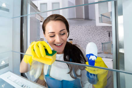 Close-up Of A Happy Young Woman Cleaning Refrigerator With Sponge Stock Photo