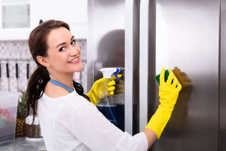 Happy Young Woman Cleaning Refrigerator With Sponge And Bottle Spray Reklamní fotografie