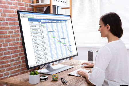 Close-up Of Professional Young Businesswoman Analyzing Gantt Chart On Computer In Office