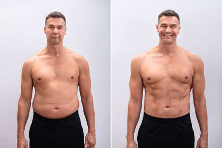 Portrait Of A Mature Man Before And After Weight Loss On White Background. Body shape was altered during retouching Фото со стока