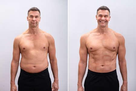 Portret Van Een Volwassen Man Voor En Na Gewichtsverlies Op Een Witte Achtergrond. Lichaamsvorm is veranderd tijdens het retoucheren Stockfoto