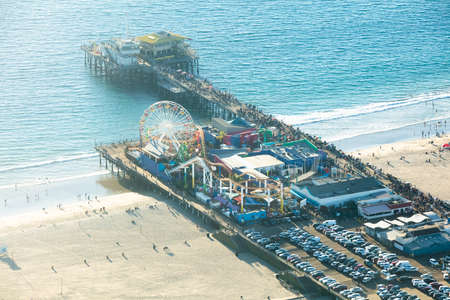 High Angle View Of Ferris Wheel At The Historic Santa Monica Pier