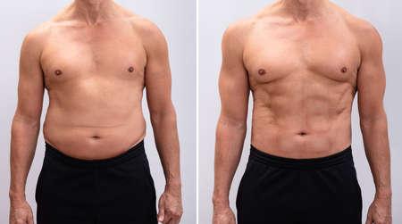 Portrait d'un homme mûr avant et après la perte de poids sur fond blanc. La forme du corps a été modifiée lors de la retouche Banque d'images