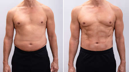Portrait Of A Mature Man Before And After Weight Loss On White Background. Body shape was altered during retouching Stock fotó