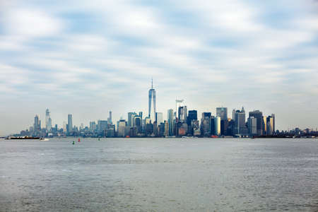 Manhattan Downtown With World Trade Center Over Hudson River