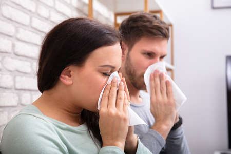 Close-up Of Sick Couple Sneezing In Tissue At Home Stock Photo