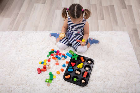 Elevated View Of Girl Sitting On Carpet Playing With Colorful Blocks At Home