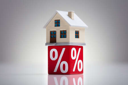 Close-up Of House Model And Percentage Red Block On The White Desk