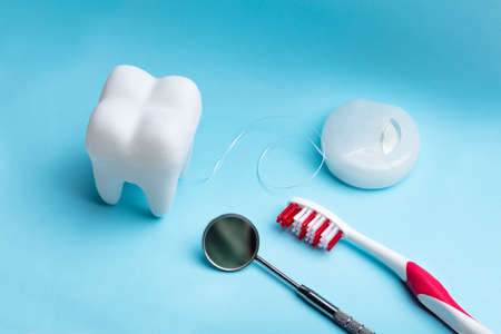 Close-up Of White Artificial Tooth And Dental Equipment On Blue Backdrop Фото со стока