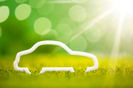Close-up Of Eco Car On Green Grass