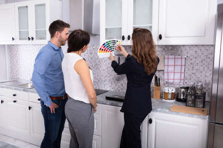 Young Female Real Estate Designer Showing Swatch Palette In New House To Couple