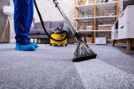 Human Cleaning Carpet In The Living Room Using Vacuum Cleaner At Home 写真素材