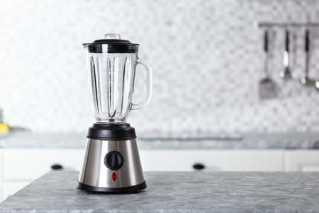 Empty Electric Blender On Modern Kitchen Worktop