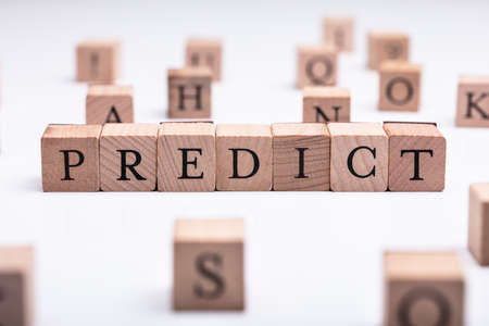 Wooden Blocks With Predict Word Over White Desk Banque d'images - 122651597