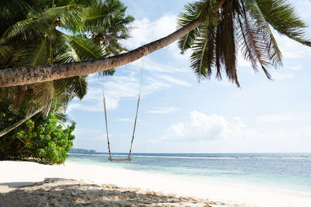 Close-up Of Wooden Swing Tied On Anse Baleine, Mahe Island, Seychelles Stockfoto