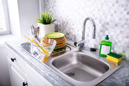 Clean Counter In Kitchen With Utensils At Home