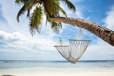 Close-up Of Hammock Hanging On Anse Baleine Beach, Mahe Island, Seychelles Stockfoto