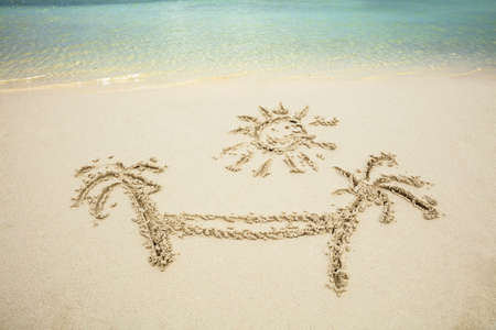 Palm Tree And Hammock Drawn On Sand At Beach