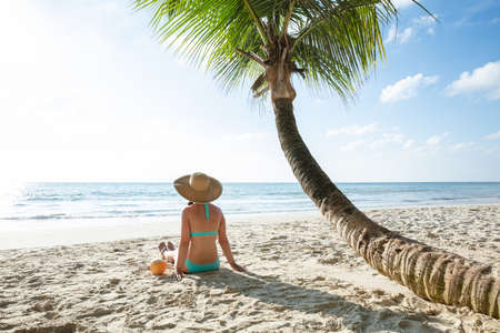 Rear View Of A Woman Wearing Hat With Coconut Water Sitting On Sand On Beach