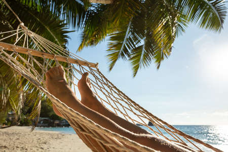 Close-up Of A Person Lying On Hammock Hanging On Palm Tree Against Blue Sky 免版税图像