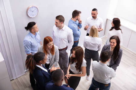 Professional Diverse Businesspeople Discussing With Each Other In Corporate Office