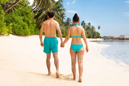Rear View Of A Young Couple Holding Each Others Hand Walking On Sandy Beach Stockfoto