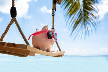 Close-up Of Pink Piggybank With Sunglasses On Wooden Swing At Beach