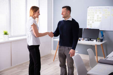 Side View Of Happy Businessman Shaking Hands With His Partner At Office Imagens