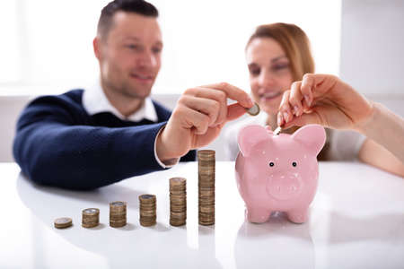 Couple Inserting Coin In Piggybank Near Increasing Profit Over Desk