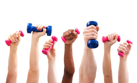 Group Of Man And Womans Hand Holding Dumbbells In A Row Against White Background Stock Photo