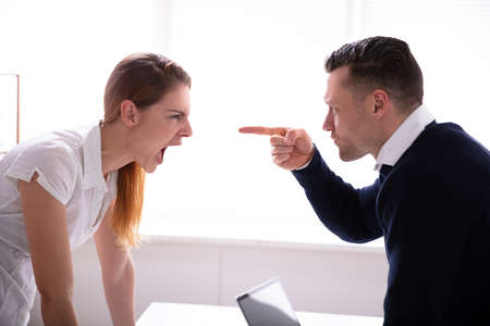 Side View Of Businessman Pointing Finger At Businesswoman While Fighting In Office