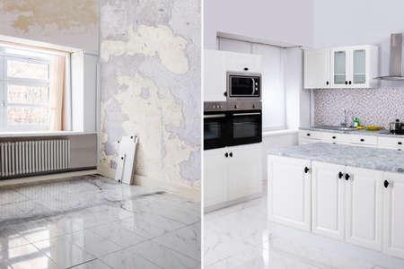 Antes y después de la habitación del apartamento con cocina moderna en una casa renovada Foto de archivo