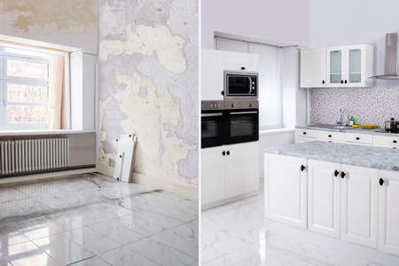 Avant Et Après De Cuisine Moderne Appartement Chambre Dans Maison Rénovée Banque d'images