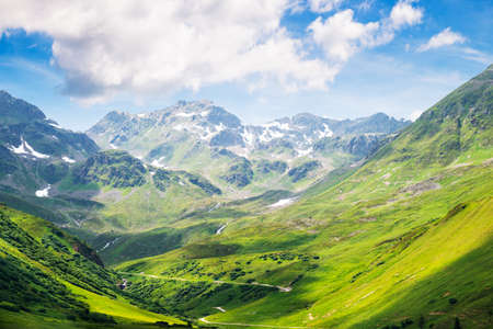 Mountain Range In Austrian Alps In Summer