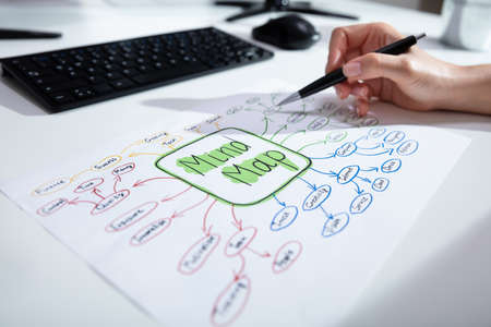 Close-up Of A Businessperson's Hand Drawing Mind Map Chart On Paper Over Desk