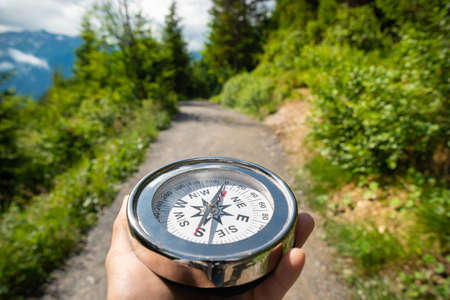 Hiking, Geocaching  And Treasure Hunting In Mountains