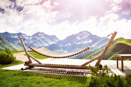 Hammock On Top Of The Mountain, Austria Stockfoto