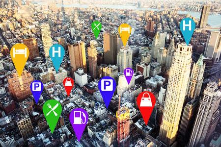 Colorful Marks Navigator Over The New York Cityscape Destination At Dubai Usa