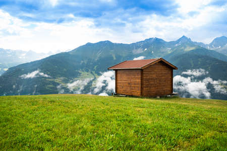 Little Shed On Pasture Field In Mountains In Austria