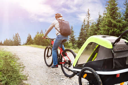Father With Child In Trailer Riding Mountain Bike In Alps Stockfoto
