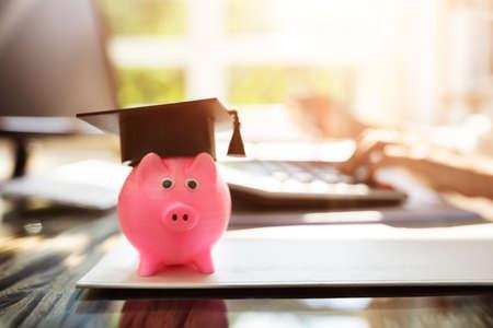 Close-up Of Pink Piggybank With Graduation Cap Near Documents