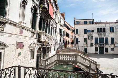 Historic Buildings Near Narrow Canal In Venice, Italy Banco de Imagens