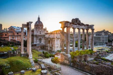 Roman Forum At Sunrise In Rome, Italy Banco de Imagens