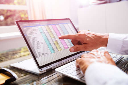 Businessman Working With Spreadsheet On Laptop In Office
