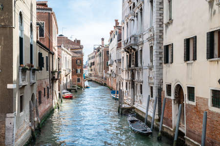 Canal Between Old Historic Houses In Venice