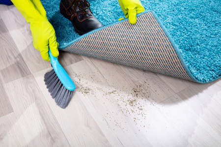 Low section View Of A Lazy Janitor Sweeping Dirt Under The Carpet