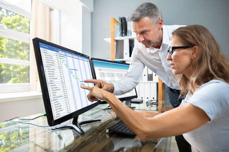 Mature Businesspeople Analyzing Gantt Chart And Calendar On Computer In Office
